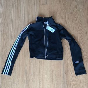 Adidas small zip track top black NWT